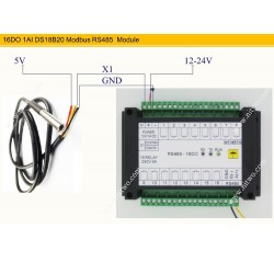 16 DO 220V 5A Relay Optical isolate TVS protection RS485 Modbus Module with 18B20  Temperature sensor Free Test Software