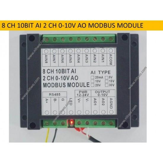 2 AO 8 AI( 20mA / 5V / 10V / 15V / 20V / 30V ) RS485 12bit Modbus Module