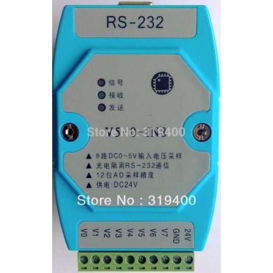 8AI 5V 10V 30V 60V 120V 240V 480V 960V 12bit RS232 Modbus Voltage Acquisition Measure Module