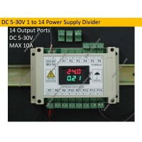 DC 5-30V 1 to 14 power supply divider multifunction module with voltage and current meter suit for CCTV Camera DIN 35