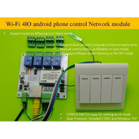 Wi-Fi 4I/O 4DO 4DI android phone control Network RJ45 relay Modbus-TCP module smart home