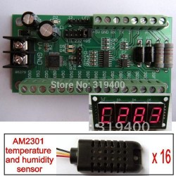 WITH LED Meter 16 way Humidity and Temperature AM2301 RS485 RS232 TTL Board  Modbus module